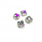 10mm crystal AB sp. kristalai sidabro sp. rėmeliuose, 4vnt