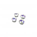12mm crystal AB sp.apvalūs kristalai sidabro sp. rėmeliuose, 6vnt.