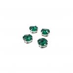 12mm Emerald sp. apvalūs kristalai sidabro sp. rėmeliuose, 6vnt.