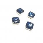10mm indigo sp. kristalai sidabro sp. rėmeliuose, 4vnt
