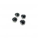 12mm juodos sp. apvalūs kristalai sidabro sp. rėmeliuose, 6vnt.
