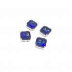 10mm mėlyna AB sp. kristalai sidabro sp. rėmeliuose, 4vnt