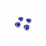 12mm mėlyna sp. apvalūs kristalai sidabro sp. rėmeliuose, 6vnt.