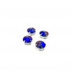 12mm mėlynos AB sp. apvalūs kristalai sidabro sp. rėmeliuose, 6vnt.