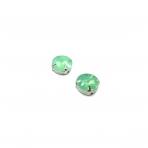 12mm mėnulio žalios sp. apvalūs kristalai sidabro sp. rėmeliuose, 2vnt.