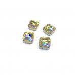 10mm Silk AB sp. kristalai sidabro sp. rėmeliuose, 4vnt