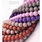 10mm stiklinių perlų 10 juostų mix, pasteliniai-matiniai