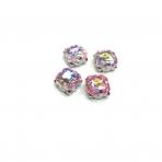 10mm švelnios rožinės AB sp. kristalai sidabro sp. rėmeliuose, 4vnt