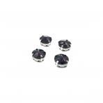 12mm violetinės sp.apvalūs kristalai sidabro sp. rėmeliuose, 6vnt.