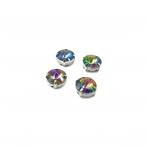 12mm Vitrail sp. apvalūs kristalai sidabro sp. rėmeliuose, 6vnt.