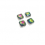 10mm Vitrail sp. kristalai sidabro sp. rėmeliuose, 4vnt