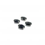 14x10mm juodos sp. kristalai sidabro sp. rėmeliuose, 4vnt.