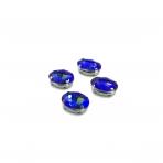 14x10mm mėlynos AB sp. kristalai sidabro sp. rėmeliuose, 4vnt.
