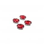 14x10mm raudonos sp. kristalai sidabro sp. rėmeliuose, 4vnt.