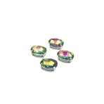 14x10mm Vitrail sp. kristalai sidabro sp. rėmeliuose, 4vnt.