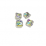 12mm crystal AB sp. kristalai sidabro sp. rėmeliuose, 4vnt