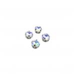 10mm crystal AB sp.apvalūs kristalai sidabro sp. rėmeliuose, 6vnt.