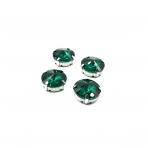 16mm Emerald sp. apvalūs kristalai sidabro sp. rėmeliuose, 4vnt.