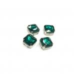 12mm Emerald sp. kristalai sidabro sp. rėmeliuose, 4vnt