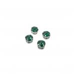 10mm Emerald sp. apvalūs kristalai sidabro sp. rėmeliuose, 6vnt.