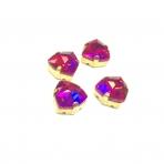 12mm Fuchsia sp. Trillion kristalai aukso sp. rėmeliuose, 4vnt