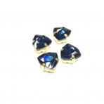 12mm indigo sp. Trillion kristalai aukso sp. rėmeliuose, 4vnt