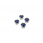 10mm indigo sp.apvalūs kristalai sidabro sp. rėmeliuose, 6vnt.