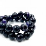 12mm juodos ir violetinės sp. facetuoti agatai, 40cm juosta