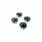 16mm juodos sp. apvalūs kristalai sidabro sp. rėmeliuose, 4vnt.