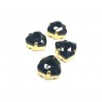 12mm juodos sp. Trillion kristalai aukso sp. rėmeliuose, 4vnt