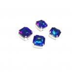 12mm mėlyna AB sp. kristalai sidabro sp. rėmeliuose, 4vnt
