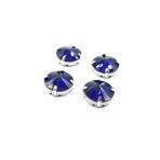 16mm mėlyna sp. apvalūs kristalai sidabro sp. rėmeliuose, 4vnt.