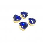 12mm mėlyna sp. Trillion kristalai aukso sp. rėmeliuose, 4vnt