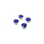 10mm mėlyna sp. apvalūs kristalai sidabro sp. rėmeliuose, 6vnt.