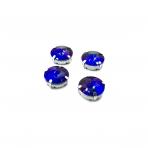 16mm mėlynos AB sp. apvalūs kristalai sidabro sp. rėmeliuose, 4vnt.