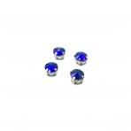 10mm mėlynos AB sp. apvalūs kristalai sidabro sp. rėmeliuose, 6vnt.