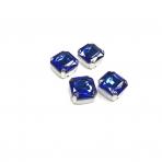 12mm mėlynos sp. kristalai sidabro sp. rėmeliuose, 4vnt