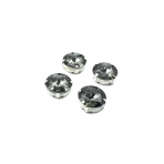 16mm pilkos sp. apvalūs kristalai sidabro sp. rėmeliuose, 4vnt.