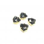 12mm pilkos sp. Trillion kristalai aukso sp. rėmeliuose, 4vnt