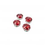 16mm raudonos sp. apvalūs kristalai sidabro sp. rėmeliuose, 4vnt.