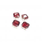 12mm raudonos sp. kristalai sidabro sp. rėmeliuose, 4vnt
