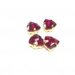 12mm raudonos sp. Trillion kristalai aukso sp. rėmeliuose, 4vnt