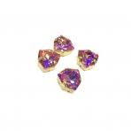 12mm rausvai gelsvos AB sp .Trillion kristalai aukso sp. rėmeliuose, 4vnt