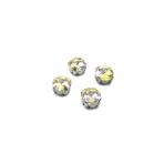 10mm Silk AB sp. apvalūs kristalai sidabro sp. rėmeliuose, 6vnt.