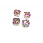12mm švelnios rožinės AB sp. kristalai sidabro sp. rėmeliuose, 4vnt