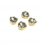 12mm šviesios dūminės sp. Trillion kristalai aukso sp. rėmeliuose, 4vnt