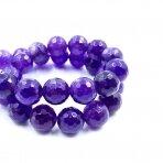 12mm violetinės sp. facetuoti agatai, 40cm juosta