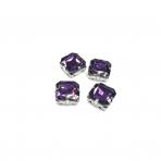12mm violetinės sp. kristalai sidabro sp. rėmeliuose, 4vnt