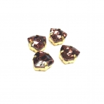 12mm violetinės sp. Trillion kristalai aukso sp. rėmeliuose, 4vnt