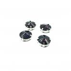 16mm violetinės sp.apvalūs kristalai sidabro sp. rėmeliuose, 4vnt.